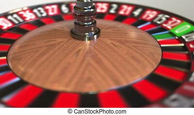 rad, schlägt, kugel, roulett, kasino, animation, 5, fünf,...