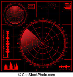 radar, écran, globe., numérique