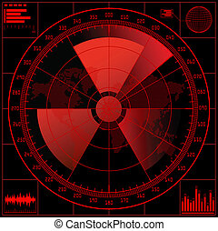radar, écran, radioactif, signe.
