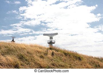 radar, és, világítótorony, alatt, sapka, gris, nez, alatt,...