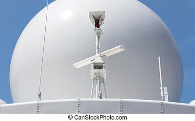 Radar antenna on a military ship