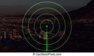 radar, arrière-plan animation, ville