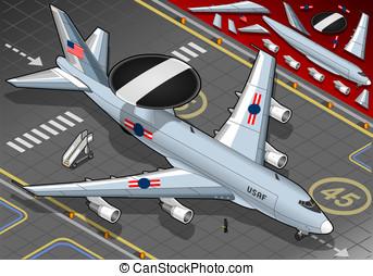radar, avião, aterrado, frente, vista