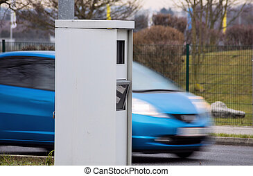 radar box for speed control - the speed of a car on a road...