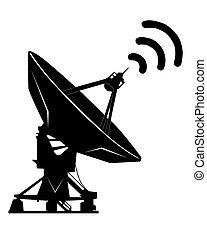 radar - black silhouette on a white background radar