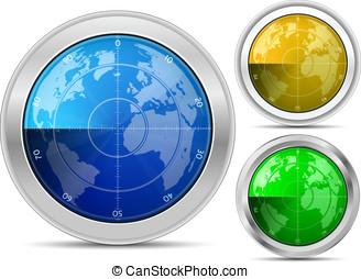 Radar collection - Radar. Oscilloscope monitor with a world...