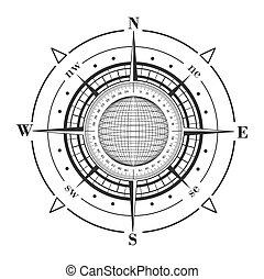radar, compas, globe., rose