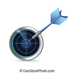 radar, desenho, alvo, ilustração, dardo