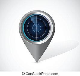 radar, design, abbildung, locator