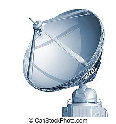 Radar dish on white background