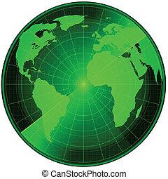 Radar earth - World map on the radar