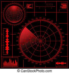 radar, ekran, globe., cyfrowy