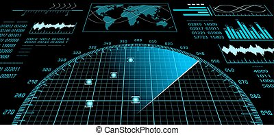 radar, ekran, z, futurystyczny, interfejs użytkownika, hud.