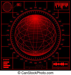 radar, erdball, scale., screen., digital