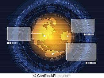 radar, globaal, scanderen