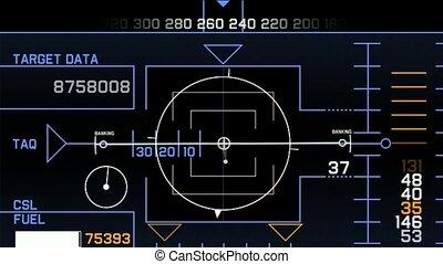 Radar GPS navigation screen display, computer game interface, hi-tech software panel.