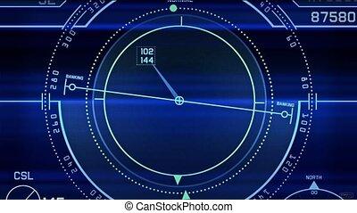 Radar GPS screen display, computer game navigation interface.