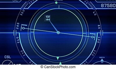 Radar GPS screen display,computer game navigation interface.