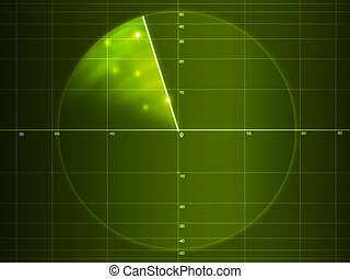 Green radar with objects on it. Computer design.