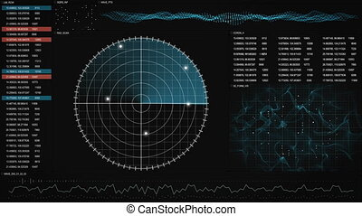 radar GUI screen loopable technology background - radar GUI...