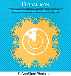 radar icon sign. Floral flat design on a blue abstract background with place for your text. Vector