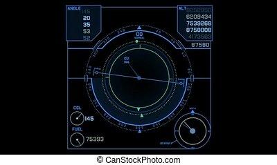 radar, informatique, exposer, écran, gps