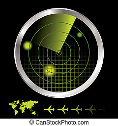Radar monitor - Aircraft radar for airport with world map...