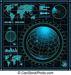 radar, pantalla, mapa del mundo