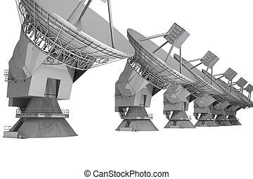Radar - Satelite dish isolated on white background. 3d ...