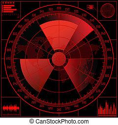 radar, scherm, radioactief, teken.
