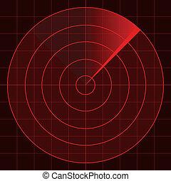 radar, scherm, vector