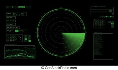 A radar screen is scanning for signals