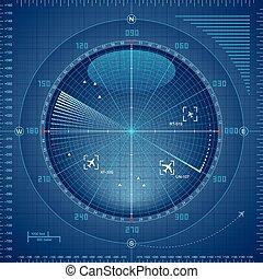 Radar screen - Airport radar screen. Eps8. CMYK. Organized...