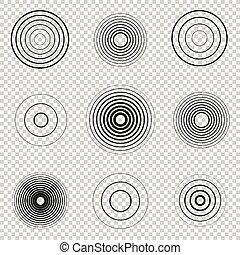 Radar screen concentric circle element set. Sound wave....