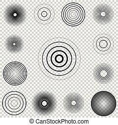 Radar screen concentric circle element set. Sound wave. Circle spin target. Radio station signal.