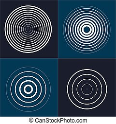 Radar screen concentric circle element set. Sound wave. Circle spin target. Radio station signal.