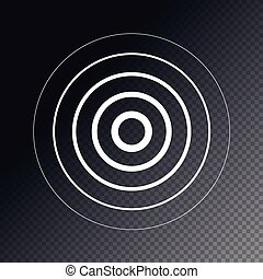 Radar screen concentric circle element. Sound wave. Circle spin target. Radio station signal.