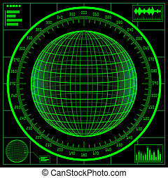 Radar screen. Digital globe with scale.
