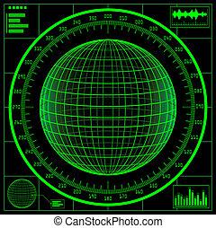 radar, screen., digital, globo, con, scale.