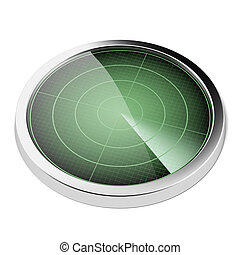 Radar screen  isolated on a white background. 3d render
