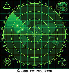 Radar screen - Illustration of radar screen as a security...