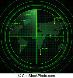Radar Screen - illustration of radar screen showing world...