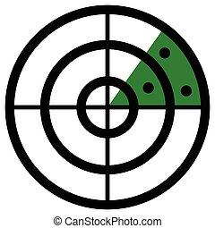 Radar screen symbol, clip art with targets. Radar icon.