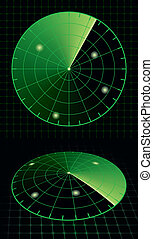 Radar screen target detection. Vector Illustration