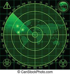 Radar screen - Illustration of radar screen as a security...