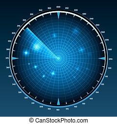 Radar screen vector. Technology military equipment, monitor ...