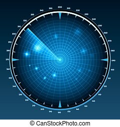 Radar screen vector. Technology military equipment, monitor...