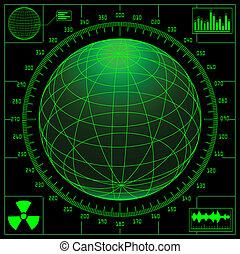 Radar screen with digital globe and scale.
