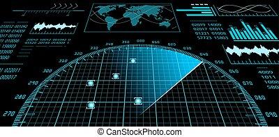 Radar screen with futuristic user interface HUD. - Blue...