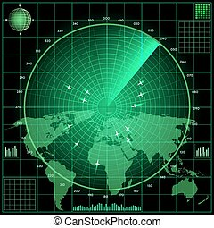 Radar screen with planes. World map background, military...
